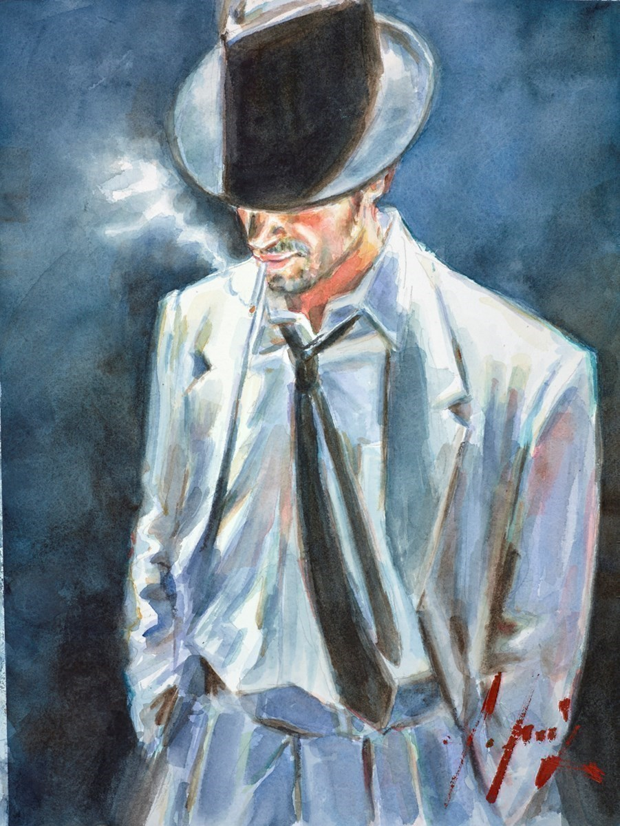 Man in White Suit IV (Watercolour) by Fabian Perez -  sized 12x16 inches. Available from Whitewall Galleries